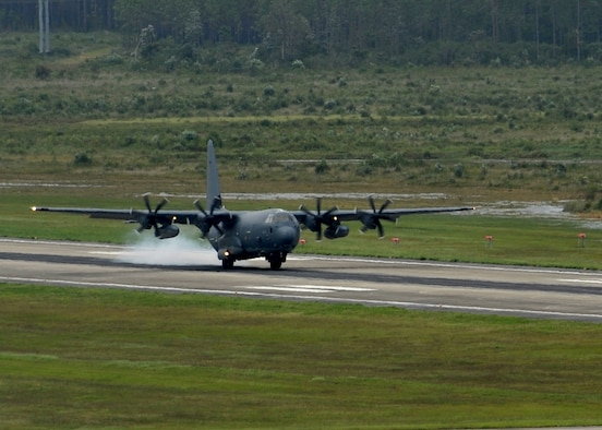 An MC-130J Commando II lands on the flightline at Hurlburt Field, Fla., Aug. 11, 2016. This aircraft is scheduled to be modified into an AC-130J Ghostrider gunshipin the coming months. The Ghostrider's primary missions are close air support, air interdiction and armed reconnaissance. (U.S. Air Force photo by Staff Sgt. Kentavist Brackin)