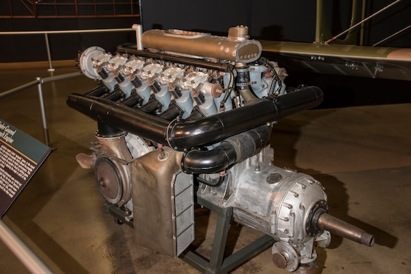 Liberty 12-cylinder engine on display in the Early Years Gallery at the National Museum of the United States Air Force. (U.S. Air Force photo)