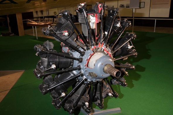 Wright R-1820 engine on display in the Early Years Gallery at the National Museum of the United States Air Force. (U.S. Air Force photo)