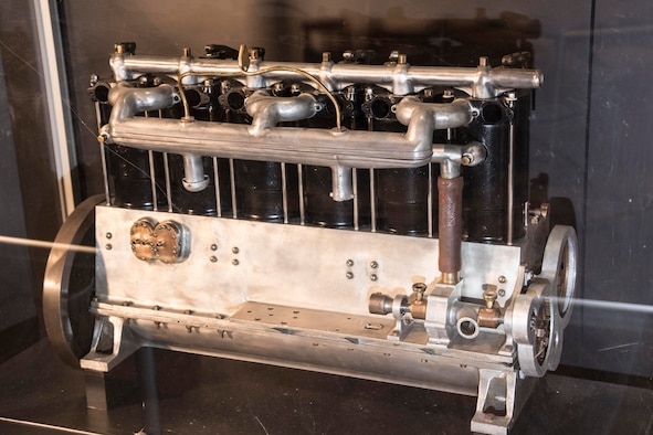 Wright 6-60 engine on display in the Early Years Gallery at the National Museum of the United States Air Force. (U.S. Air Force photo)
