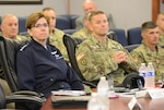 Gen. Lori J. Robinson, commander, North American Aerospace Defense Command (NORAD) and United States Northern Command (USNORTHCOM) visited Joint Force Headquarters-National Capital Region and the U.S. Army Military District of Washington Commanding General, Maj. Gen. Bradley A. Becker on Fort Lesley J. McNair, Aug. 10, 2016. Robinson met with Becker for an office call and received a command and capabilities brief from the Deputy Commander, Egon Hawrylak. JFHQ-NCR/MDW directors and commanders were on hand to answer any questions from Robinson and her staff. (U.S. Army photo by Courtney Dock)