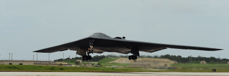 A U.S. Air Force B -2 Spirit aircraft deployed from Whiteman Air Force Base, Mo., takes flight at Andersen Air Force Base, Guam, Aug. 15, 2016. More than 200 Airmen and three B-2s deployed from Whiteman Air Force Base, Mo., in support of U.S. Pacific Command's Bomber Assurance and Deterrence (BAAD) missions. The BAAD deployments are part of a long-standing history of maintaining a consistent bomber presence in the Indo-Asia-Pacific in order to maintain regional stability, and provide assurance to our allies and partners in the region. (U.S. Air Force photo by Senior Airman Jovan Banks)