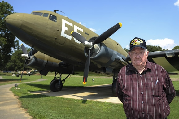 """Ret. U.S. Air Force Master Sgt. Robert Earl """"Sam"""" Puckett served in three wars. During World War II, Puckett partook in the Berlin Airlift conducted by aircraft similar to the C-47 pictured above. (U.S. Air Force photo/Senior Airman Harry Brexel)"""