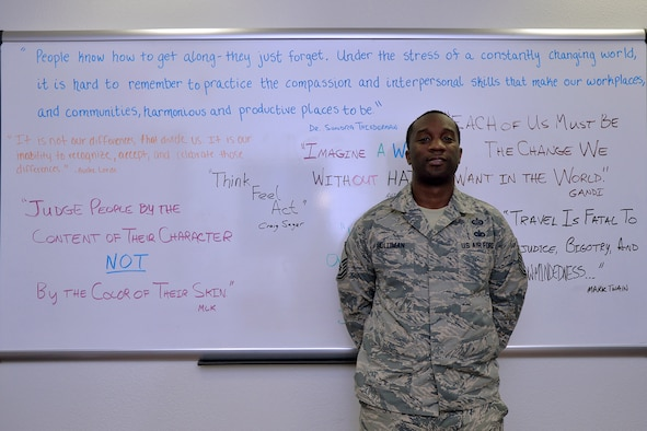 U.S. Air Force Master Sgt. Brandon Holliman, 17th Training Wing Equal Opportunity NCO in charge, stands in front of a whiteboard at the Equal Opportunity office on Goodfellow Air Force Base, Texas, Aug. 10, 2016. Holliman is the 17th TRW spotlight for July, a series highlighting the accomplishments of wing personnel.(U.S. Air Force photo by Airman 1st Class Randall Moose/Released)