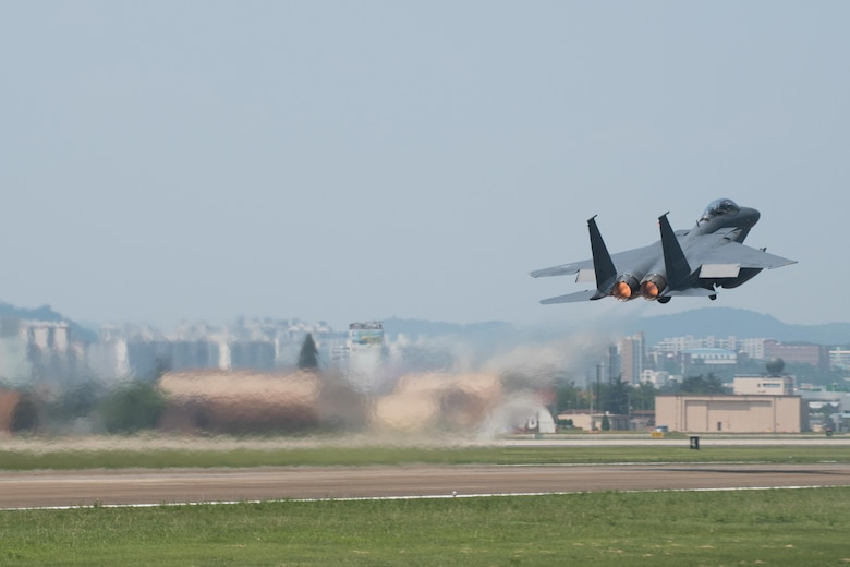 An F-15K Slam Eagle from the Republic of Korea air force's 11th Fighter Wing takes off for Daegu's airspace during Buddy Wing 16-7 at Daegu Air Base, ROK, Aug. 12, 2016. Buddy Wing is designed to introduce and review tactics, exchange ideas and improve the interoperability between U.S. and ROK air force pilots, maintainers and support personnel. (U.S. Air Force photo by Senior Airman Dillian Bamman)