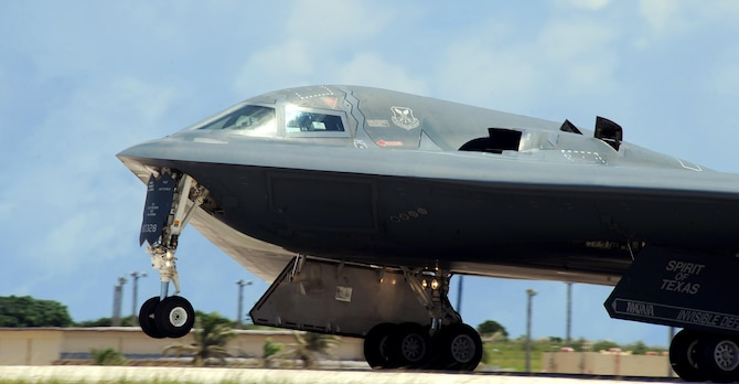 A U.S. Air Force B -2 Spirit aircraft deployed from Whiteman Air Force Base, Mo., launches from the runway at Andersen Air Force Base, Guam, Aug. 12, 2016. Thanks to its subsonic speeds and its nearly 7,000 mile unrefueled range, the B-2 Spirit is capable of bringing massive firepower, in a short time, anywhere on the globe through the most challenging defenses. (U.S. Air force photo by Senior Airman Jovan Banks)