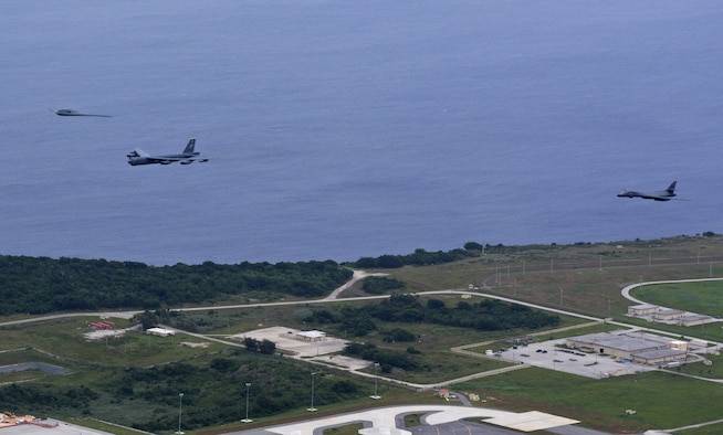 A U.S. Air Force B-52 Stratofortress, B-1 Lancer and B-2 Spirit launch from Andersen Air Force Base, Guam, for an integrated bomber operation Aug.17, 2016. This mission marks the first time in history that all three of Air Force Global Strike Command's strategic bomber aircraft are simultaneously conducting integrated operations in the U.S. Pacific Command area of operations. As of Aug. 15, the B-1 Lancer will be temporarily deployed to Guam in support of U.S. Pacific Command's Continuous Bomber Presence mission. (U.S. Air Force photo by Senior Airman Joshua Smoot)