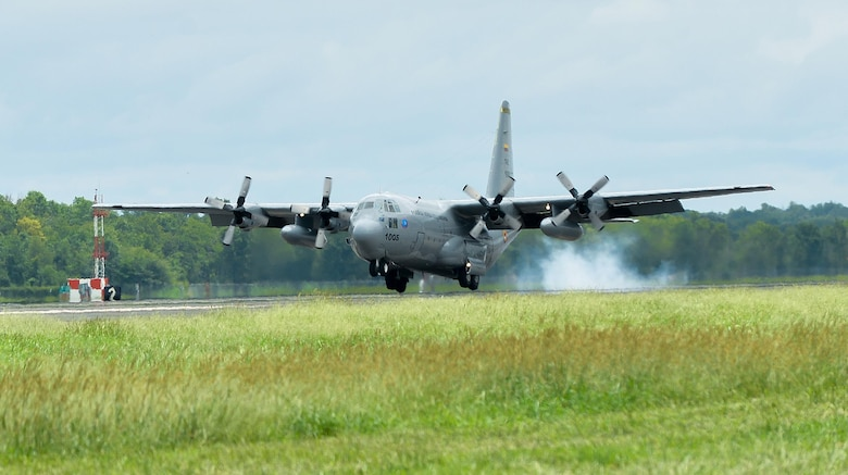 A Colombian Air Force C-130 Hercules lands at Barksdale Air Force Base, La., Aug. 13, 2016. The Colombian Air Force brought about 45 Airmen and four A-29B Super Tucanos to Barksdale to participate in Exercise Green Flag East Aug. 15-29. (U.S. Air Force photo/Senior Airman Mozer O. Da Cunha)