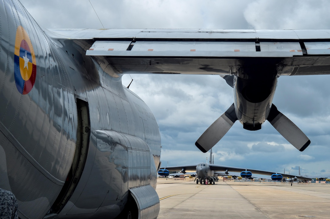 A Colombian Air Force C-130 Hercules sits on the ramp after offloading personnel and cargo at Barksdale Air Force Base, La., Aug. 13, 2016. The Colombians arrived to Barksdale to participate in Exercise Green Flag East. (U.S. Air Force photo/Senior Airman Mozer O. Da Cunha)