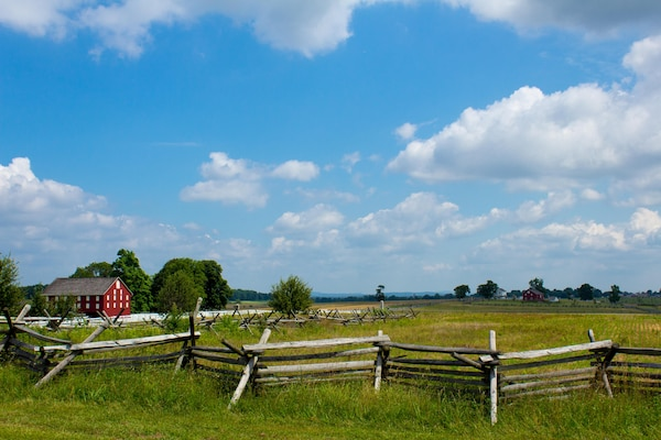 Gettysburg National Battlefield from the Peach Orchard.
