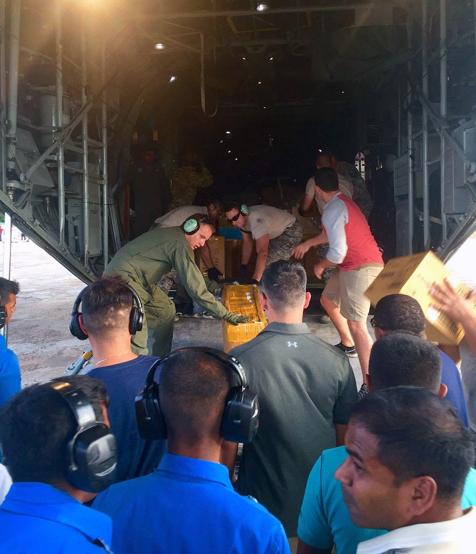 U.S. Military members and the Sri Lankan Air Force work together to unload medical supplies from a U.S. Air Force C-130 aircraft during Pacific Angel (PACANGEL) 16-3 in Jaffna, Sri Lanka, Aug. 13, 2016. PACANGEL is a multilateral humanitarian assistance/civil military operation, which improves military-to-military partnerships in the Pacific while also providing medical health outreach, civic engineering projects and subject matter exchanges among partner forces.