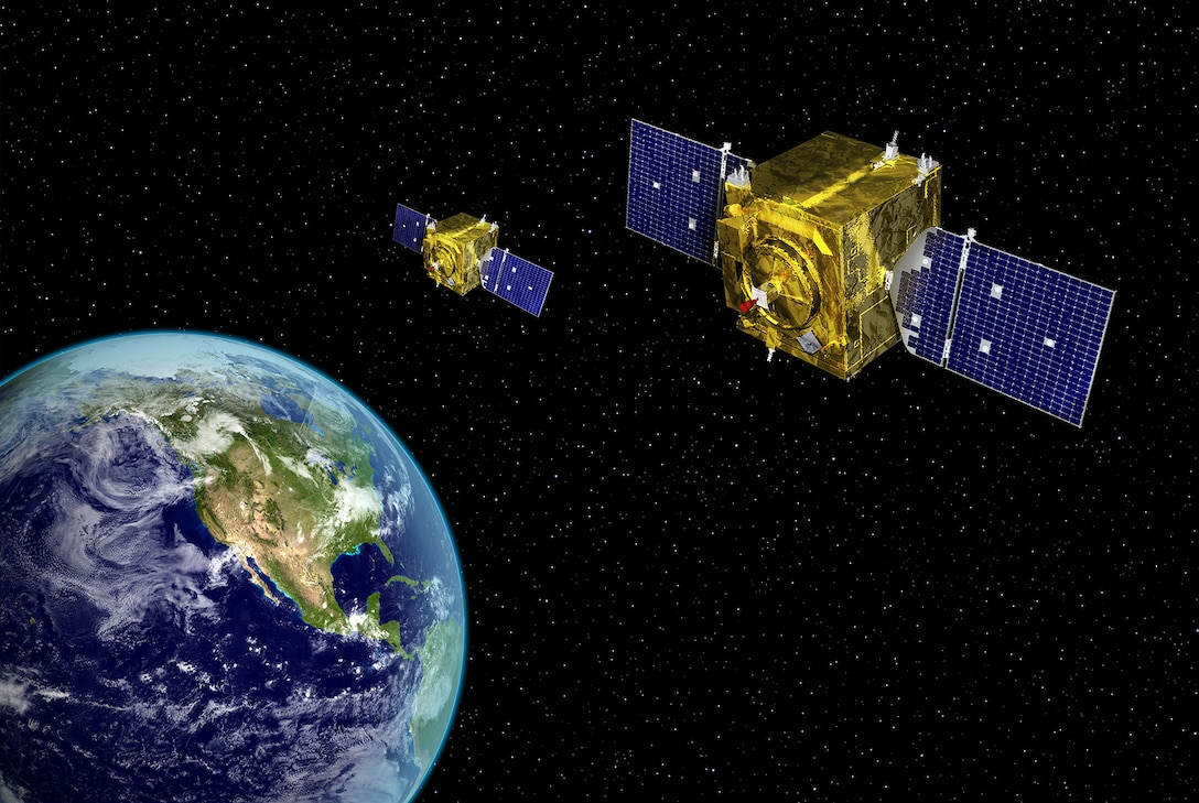 "Geosynchronous Space Situational Awareness Program artist rendering. Air Force Space Command's ""Neighborhood Watch"" Satellites, the Geosynchronous Space Situational Awareness Program, recently responded to the Navy's request for help with a satellite of its own."