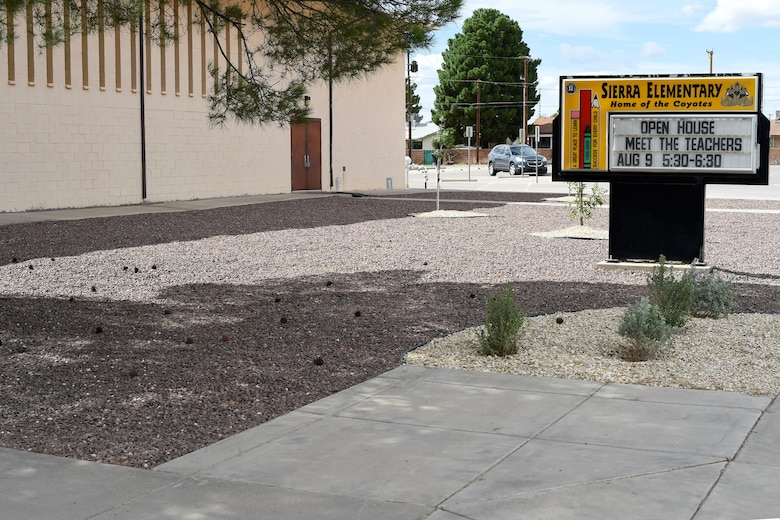The entrance to Sierra Elementary School in Alamogordo, N.M., underwent renovations by Big Give volunteers in July. The area was damaged due to flooding within the recent years. (U.S. Air Force photo by Staff Sgt. Eboni Prince)