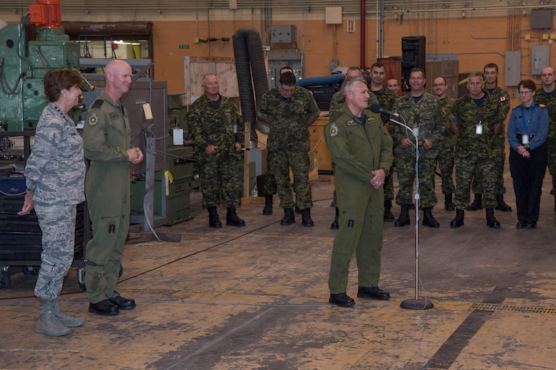 Major-General Christian Drouin, Commander of 1 Canadian Air Division, addresses members of 4 Wing Cold Lake during a visit by General Lori Robinson, Commander of the North American Aerospace Defense Command and U.S. Northern Command, at 4 Wing Cold Lake, Alberta, Canada, August 15, 2016.