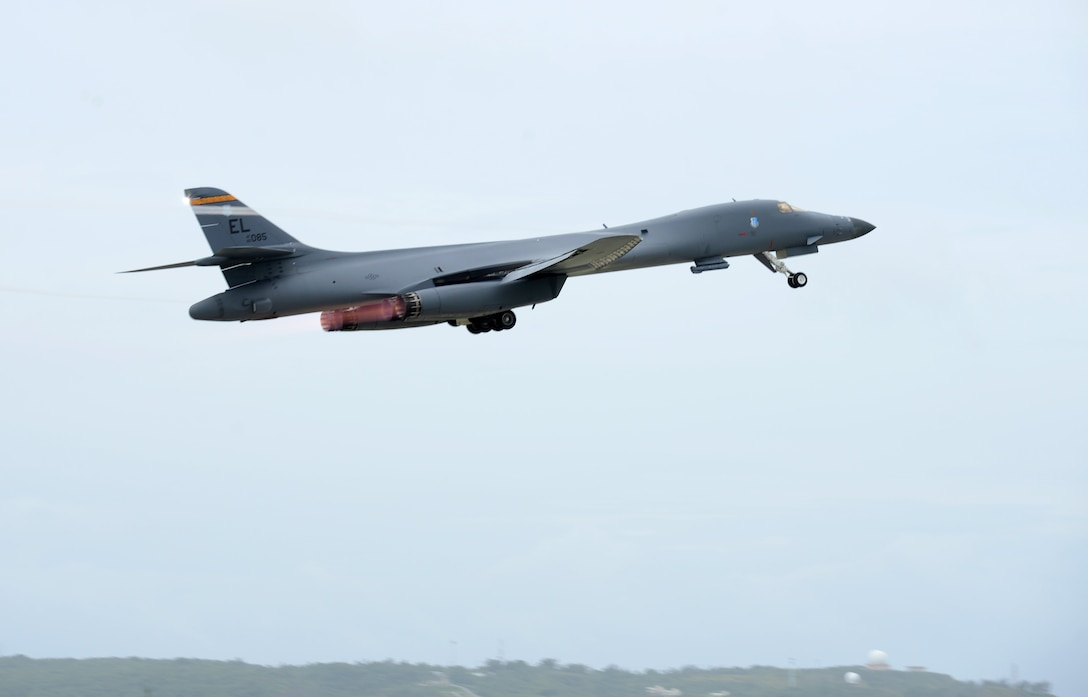 A U.S. Air Force B-1 Lancer takes off at Andersen Air Force Base, Guam, for an integrated bomber operation Aug.17, 2016. This mission marks the first time in history that all three of Air Force Global Strike Command's strategic bomber aircraft are simultaneously conducting integrated operations in the U.S. Pacific Command area of operations. As of Aug. 15, the B-1 Lancer will be temporarily deployed to Guam in support of U.S. Pacific Command's Continuous Bomber Presence mission. (U.S. Air Force photo by Airman 1st Class Arielle Vasquez/Released)