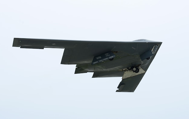 A U.S. Air Force B-2 Spirit takes off at Andersen Air Force Base, Guam, for an integrated bomber operation Aug.17, 2016. This mission marks the first time in history that all three of Air Force Global Strike Command's strategic bomber aircraft are simultaneously conducting integrated operations in the U.S. Pacific Command area of operations. As of Aug. 15, the B-1 Lancer will be temporarily deployed to Guam in support of U.S. Pacific Command's Continuous Bomber Presence mission. (U.S. Air Force photo by Airman 1st Class Arielle Vasquez/Released)