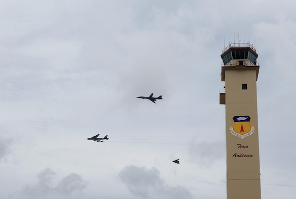 A U.S. Air Force B-52 Stratofortress, B-1 Lancer and B-2 Spirit conduct a flyover at Andersen Air Force Base, Guam, Aug.17, 2016. This marks the first time in history that all three of Air Force Global Strike Command's strategic bomber aircraft are simultaneously conducting operations in the U.S. Pacific Command area of operations. The B-1 Lancer will replace the B-52 in support of the U.S. Pacific Command Continuous Bomber Presence mission. (U.S. Air Force photo by Staff Sgt. Benjamin Gonsier)