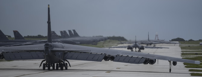A U.S. Air Force B-52 Stratofortress, B-1 Lancer and B-2 Spirit launch from Andersen Air Force Base, Guam, for an integrated bomber operation Aug.17, 2016. This mission marks the first time in history that all three of Air Force Global Strike Command's strategic bomber aircraft are simultaneously conducting integrated operations in the U.S. Pacific Command area of operations. As of Aug. 15, the B-1 Lancer will be temporarily deployed to Guam in support of U.S. Pacific Command's Continuous Bomber Presence mission. (U.S. Air Force photo by Tech Sgt Richard P. Ebensberger/Released)