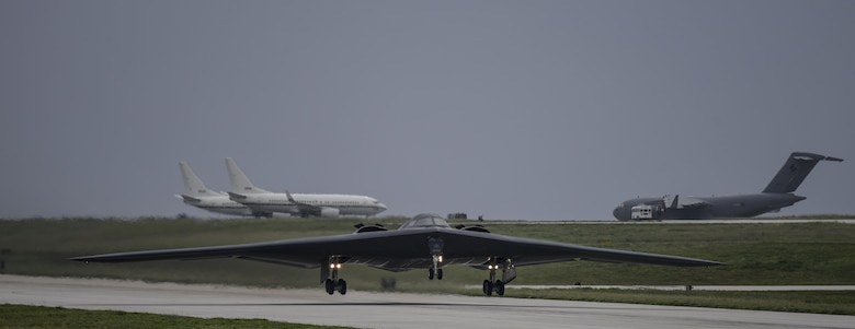A U.S. Air Force B-2 Spirit takes off at Andersen Air Force Base, Guam, for an integrated bomber operation Aug.17, 2016. This mission marks the first time in history that all three of Air Force Global Strike Command's strategic bomber aircraft are simultaneously conducting integrated operations in the U.S. Pacific Command area of operations. As of Aug. 15, the B-1 Lancer will be temporarily deployed to Guam in support of U.S. Pacific Command's Continuous Bomber Presence mission. (U.S. Air Force photo by Tech Sgt Richard P. Ebensberger/Released)