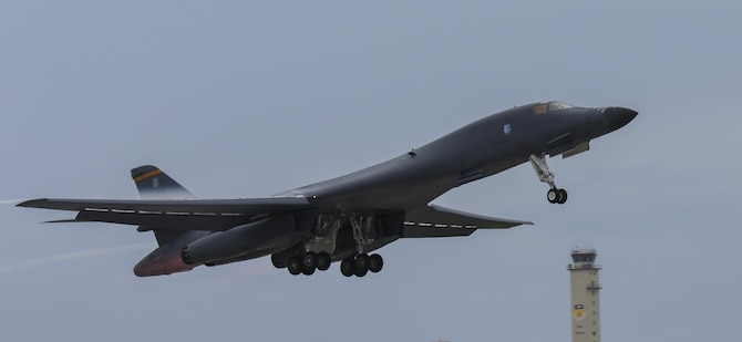 A U.S. Air Force B-1 Lancer takes off at Andersen Air Force Base, Guam, for an integrated bomber operation Aug.17, 2016. This mission marks the first time in history that all three of Air Force Global Strike Command's strategic bomber aircraft are simultaneously conducting integrated operations in the U.S. Pacific Command area of operations. As of Aug. 15, the B-1 Lancer will be temporarily deployed to Guam in support of U.S. Pacific Command's Continuous Bomber Presence mission. (U.S. Air Force photo by Tech Sgt Richard P. Ebensberger/Released)