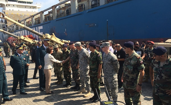 U.S. Ambassador Elizabeth H. Richard greets members of the Lebanese Armed Forces upon the arrival of $50 million shipment of U.S. military assistance to the Lebanese Armed Forces.