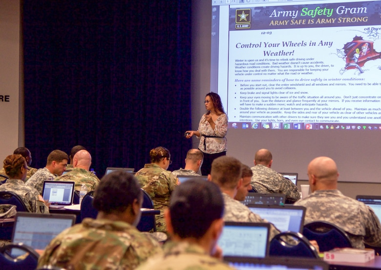 CAMP Robinson, Ark. - Melissa Martinez, the 80th Training Command safety director and occupational health specialist, provides safe driving tips during the 80th Training Command safety workshop held here Aug. 11, 2016. More than 70 additional duty appointed safety officers attended the four day event, which started Aug. 8, designed to build their unit's safety programs.