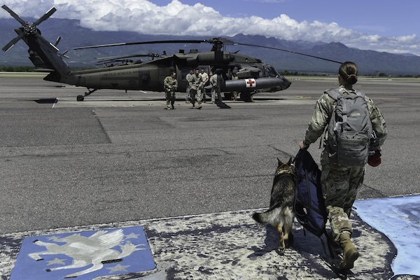U.S. Army Spc. Mariah Ridge, a military working dog handler assigned to Joint Task Force-Bravo's Joint Security Forces, and her MWD, Jaska, walk toward a UH-60L Black Hawk during K9 hoist evacuation training at Soto Cano Air Base, Honduras, August 15, 2016. To get the dogs familiarized with the aircraft, their handlers brought them around the helicopter and sat with them inside while the blades were turning.