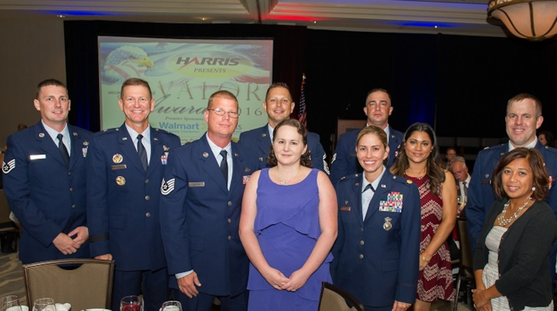 Two members of the 45th Space Wing were recognized at the Melbourne Regional Chamber of Commerce's 2016 Valor Awards banquet on Aug. 17, 2016.  Brig. Gen. Wayne Monteith, 45th Space Wing Commander, assisted with the presentations to Tech. Sgt William Shankles, of the 45th Space Wing Security Forces Squadron and Staff Sgt. Michael Hemphill, of the 45th Space Wing Civil Engineer Squadron.  Shankles was presented a Valor Award for his actions involving a medical emergency and Hemphill was presented a life-saving medal when he rescued an injured man and his 4-year old son during a kayak mishap.  (U.S. Air Force photos/Benjamin Thacker/Released)