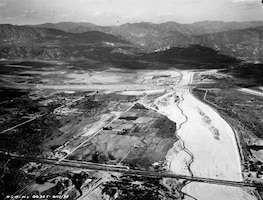 Historical photo of flooding at Hansen Dam location, 1939