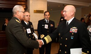 Gen. Nelson Pintos, chief of the Uruguayan Joint Staff, greets Navy Adm. Kurt W. Tidd, commander of U.S. Southern Command, prior to the start of the sixth annual South America Defense Conference in Montevideo, Uruguay, Aug. 17, 2016. Uruguay and the United States co-hosted military leaders from eight South American nations and Canada during the two-day event, where they examined the changing role of the military in the region, and participated in briefings, panels, discussions and meetings on global peacekeeping operations, transregional threat networks, and the integration of women in military service. Southcom photo by Jose Ruiz