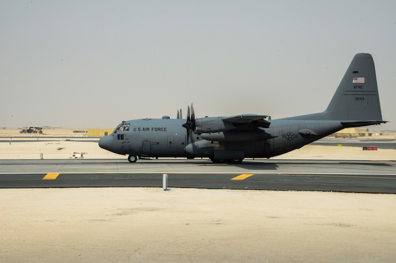 A C-130 Hercules taxis down the runway prior to take off June 28, 2016, at Al Udeid Air Base, Qatar. Airmen from the 746th EAS conduct intratheater airlifts, medical evacuation and airdrop missions throughout the U.S. Air Forces Central Command's area of responsibility in support of Operation Inherent Resolve and Operations Freedom's Sentinel. This year marks the last deployment here for the 914th Airlift Wing Airmen and four of its C-130's as they transition to KC-135 Stratotankers. (U.S. Air Force photo/Senior Airman Janelle Patiño/Released)