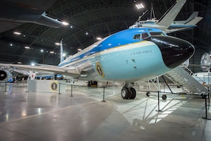 The VC-137C Air Force One (SAM 26000) in the Presidential Gallery  at the National Museum of the United States Air Force. (U.S. Air Force photo by Jim Copes)