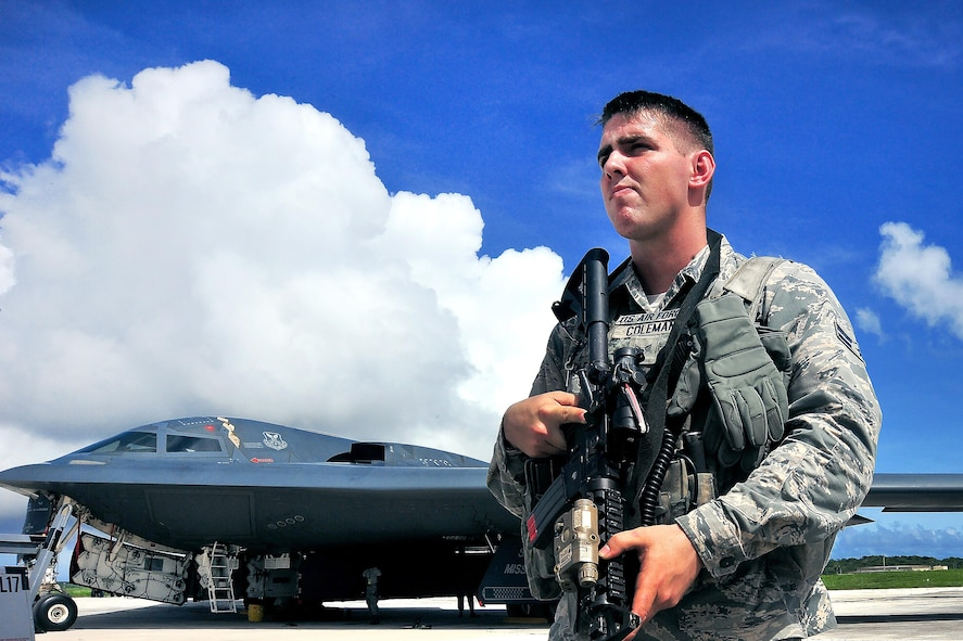 Airman 1st Class Chase Coleman provides security at an entry control point