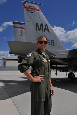 """Maj. Ashley Rolfe is the first female fighter pilot for the Air National Guard's 104th Fighter Wing. Rolfe is an Air Force Academy graduate and combat veteran who has served in the Air Force for eleven years. Rolfe became an Air Force pilot after growing up as an Air Force """"Brat"""" dependent, following her dad and granddad's footsteps carrying on the family legacy. Rolfe's swearing in ceremony took place at Barnes Air National Guard Base, July 26, 2016."""
