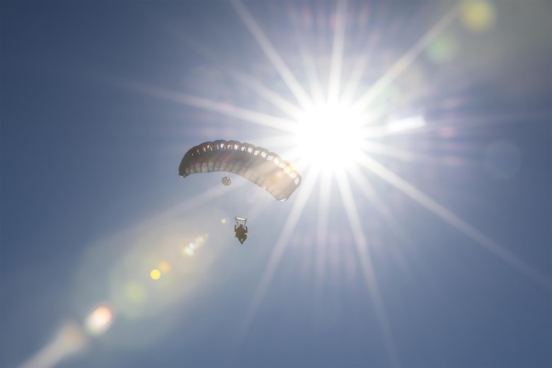 A Pararescuman from the 38th Rescue Squadron floats to the ground during a high-altitude, low-opening jump, Aug. 18, 2016, at Moody Air Force Base, Ga. After jumping from an altitude of nearly 25,000 feet, the Airmen fell for approximately three minutes before opening their parachutes for this training. (U.S. Air Force photo by Airman 1st Class Daniel Snider)