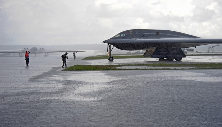 B-2 Spirits deployed from Whiteman Air Force Base, Mo., taxi toward the flightline prior to take off at Andersen AFB, Guam, Aug. 11, 2016. Bomber crews readily deploy in the Indo-Asia-Pacific region to conduct global operations in coordination with other combatant commands, services, and appropriate U.S. government agencies to deter and detect strategic attacks against the U.S., its allies and partners. (U.S. Air Force photo/Tech. Sgt. Miguel Lara III)