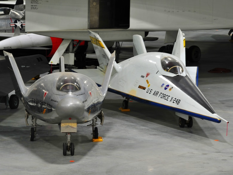 Dayton, Ohio -- The Martin X-24A and Martin X-24B in the Space Gallery at the National Museum of the U.S. Air Force (U.S. Air Force photo by Ken LaRock)