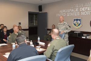 Community leaders from the state of Georgia are greeted by Maj. Gen. Daniel York, Director of Reserve Forces at NORAD and USNORTHCOM, Aug. 19, 2016.  The community leaders were part of a civic leader tour and were flown to Colorado by the 94th Airlift Wing from Dobbins ARB, Ga.  The experience allowed the civic leaders to gain a clearer understanding of the roles and missions of various military organizations with an emphasis on the Air Force Reserve.