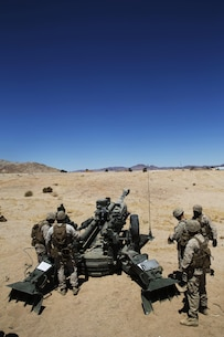 Marines with Battery I, 3rd Battalion, 12th Marine Regiment attached to 1st Battalion Regiment, 11th Marine Division set up a M777A2 Howitzer during Large Scale Exercise 2016 at Marine Corps Air-Ground Combat Center Twentynine Palms, Calif., Aug. 16, 2016. LSE-16 simulates the planning, deployment and combat operations of a cohesive, combat-ready team consisting of more than 50,000 military members with I Marine Expeditionary Force. (U.S. Marine Corps photo by Sgt. Abbey Perria)