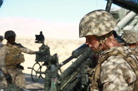 A Marine with Battery I, 3rd Battalion, 12th Marine Regiment, attached to 1st Battalion, 11th Marine Regiment, 1st Marine Division prepares to fire the M777A2 Howitzer during Large Scale Exercise 2016 at Marine Corps Air-Ground Combat Center Twentynine Palms, Calif., Aug. 16, 2016. LSE-16 simulates the planning, deployment and combat operations of a cohesive, combat-ready team consisting of more than 50,000 military members with I Marine Expeditionary Force. (U.S. Marine Corps photo by Pvt. Robert Bliss)