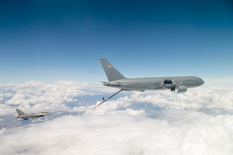 A KC-46A Pegasus prepares to refuel an Edwards AFB F-16 Fighting Falcon July 13, 2016 over the northwest United States. (U.S. Air Force photo by Christopher Okula)