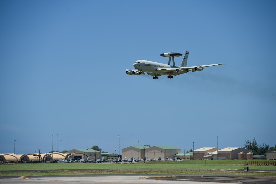 An E-3 Sentry Airborne Warning and Control System aircraft flown by Airmen from the 965th Airborne Air Control Squadron prepares to land on July 25, 2016, at Joint Base Pearl Harbor-Hickam, Hawaii. More than 125 Airmen from the 513th Air Control Group and 552nd Air Control Wing are deployed to Hawaii in support of the Rim of the Pacific 2016 exercise. Twenty-six nations, more than 40 ships and submarines, more than 200 aircraft and 25,000 personnel are participating in RIMPAC from June 30 to Aug. 4, in and around the Hawaiian Islands and Southern California. The world's largest international maritime exercise, RIMPAC provides a unique training opportunity that helps participants foster and sustain the cooperative relationships that are critical to ensuring the safety of sea lanes and security on the world's oceans. RIMPAC 2016 is the 25th exercise in the series that began in 1971. (U.S. Air Force photo by 2nd Lt. Caleb Wanzer)