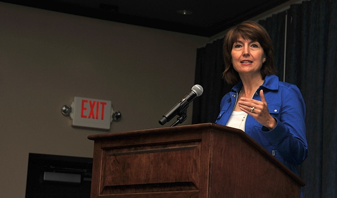 U.S. Rep. Cathy McMorris Rodgers of Wash. state, speaks to military members and their families during a Military Family Summit Aug. 18, 2016, at the Red Morgan Center at Fairchild Air Force Base,Wash. Various topics were covered to include: pay and benefits, community integration and transition, employment, health care, housing, the Exceptional Family Member Program, deployments and education. 