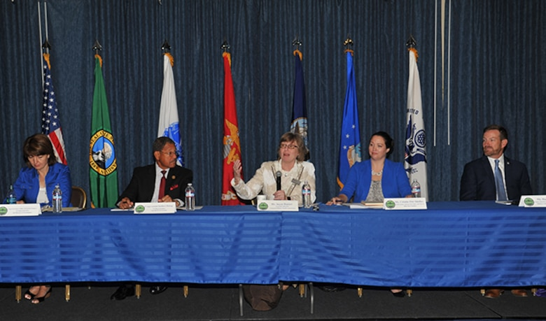 Panel members answer questions during a Military Family Summit, Aug. 18, 2016, at the Red Morgan Center at Fairchild Air Force Base, Wash. The summit gave Active Duty, Guard and Reserve service members and their families from all branches to address key issues affecting military families, including basic allowance for housing, employment opportunities and education for special needs children. (U.S. Air Force photo/Staff Sgt. Samantha Krolikowski)