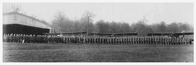 The original 88th Aero Squadron stands with their aircraft shortly after their creation. The squadron logged more than 1,240 flying hours and was awarded 13 Distinguished Service Crosses during World War I. The 88th AS would eventually go on to become the 436th Training Squadron, celebrating 99 years of service Aug. 17, 2016. (U.S. Air Force courtesy photo)