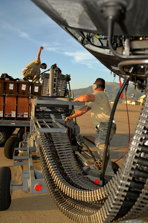 Airmen assigned to the 23rd Aircraft Maintenance Squadron, Moody Air Force Base, Ga., prepare to offload 30 mm shells from an A-10 Thunderbolt II aircraft Aug. 3 at Hill AFB. Earlier in the day, the aircraft flew during an exercise known as Combat Hammer. (U.S. Air Force photo by R. Nial Bradshaw)