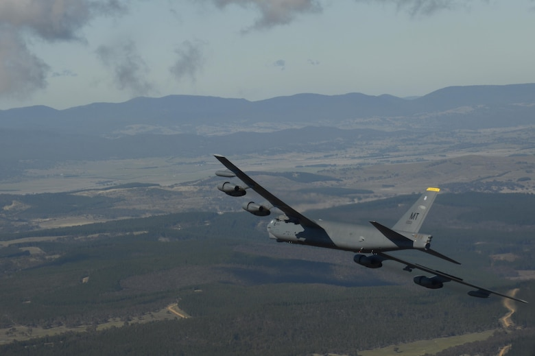 A U.S. Air Force B-52H Stratofortress conducts a training mission over the Delamere Training Range in Northern Australia during Exercise Pitch Black, Aug. 18, 2016. PB16, a multilateral exercise hosted by Australia from Jul. 29 through Aug. 19, allowed participant nations to exercise deployed units in the tasking, planning and execution of offensive counter air and offensive air support while utilizing one of the largest training airspace areas in the world. (U.S. Air Force photo by Staff Sgt. Sandra Welch)