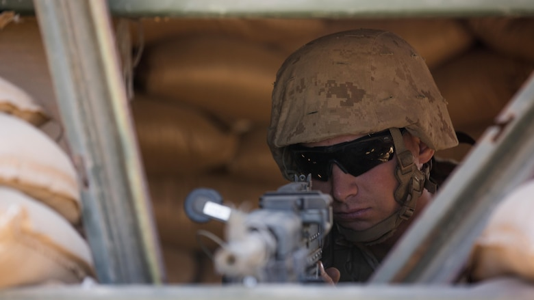 Pfc. Tyler Ren, from Allenton, Mich., provides security at an entry-control point during I Marine Expeditionary Force Exercise 2016 at Marine Corps Air Station Miramar, Calif., Aug. 17, 2016. LSE-16 is designed to enhance the command and control and interoperability between I MEF command-element staff and its higher, adjacent and subordinate command headquarters. The exercise includes cyber and electronic warfare, information support operations, and simulated and live-fire events.