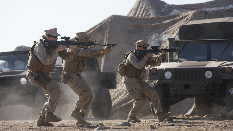 U.S. Marines with Company A, Law Enforcement Battalion, I Marine Expeditionary Force Headquarters Group, practice weapons tactics training during I Marine Expeditionary Force Large Scale Exercise 2016 at Marine Corps Air Station Miramar, Calif., Aug. 17, 2016. LSE-16 is designed to enhance the command and control and interoperability between I MEF command element staff and its higher, adjacent and subordinate command headquarters. The exercise includes cyber and electronic warfare, information support operations, and simulated and live-fire events.