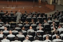 Lt. Gen. Jeffrey Harrigian, U.S. Air Forces Central Command commander, speaks to the Airmen of the 386th Air Expeditionary Wing during an all call Aug. 21, 2016, at an undisclosed location in Southwest Asia. Harrigian made his first visit to the base after taking command of AFCENT last month. (U.S. Air Force photo/Senior Airman Zachary Kee)